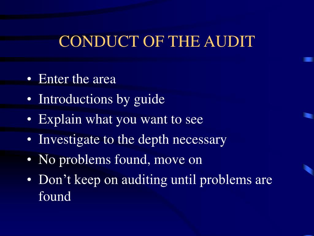 CONDUCT OF THE AUDIT