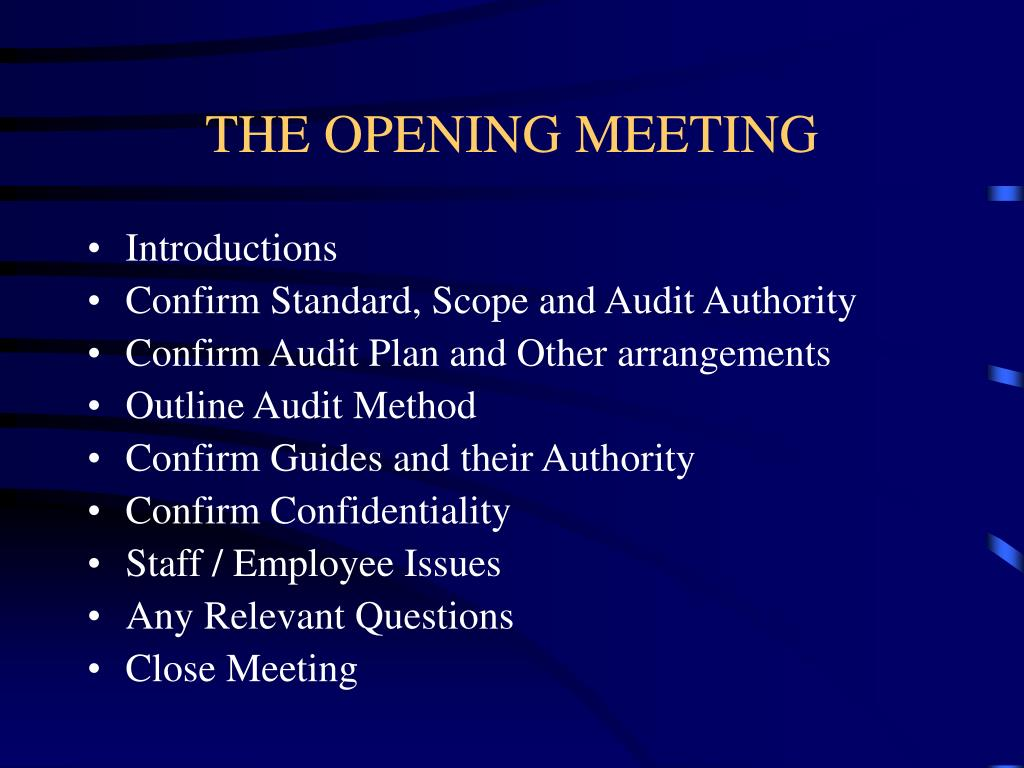THE OPENING MEETING