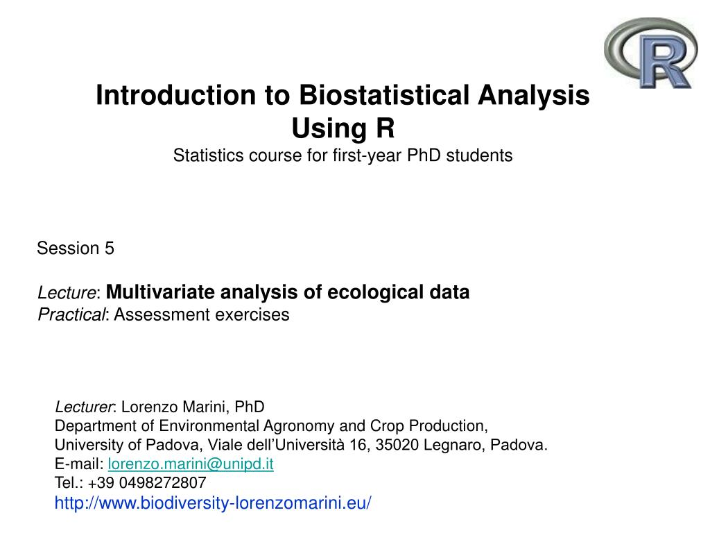 introduction to biostatistical analysis using r statistics course for first year phd students