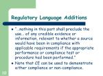 regulatory language additions