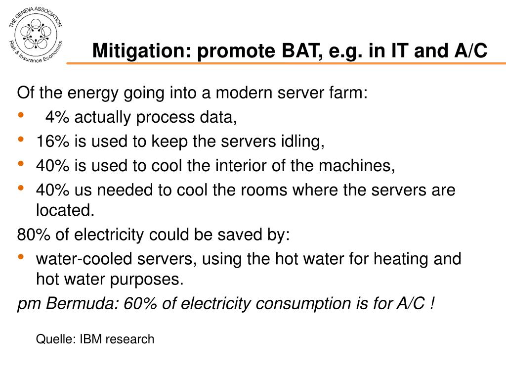 Mitigation: promote BAT, e.g. in IT and A/C