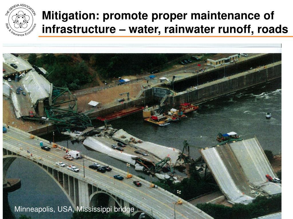 Mitigation: promote proper maintenance of infrastructure – water, rainwater runoff, roads