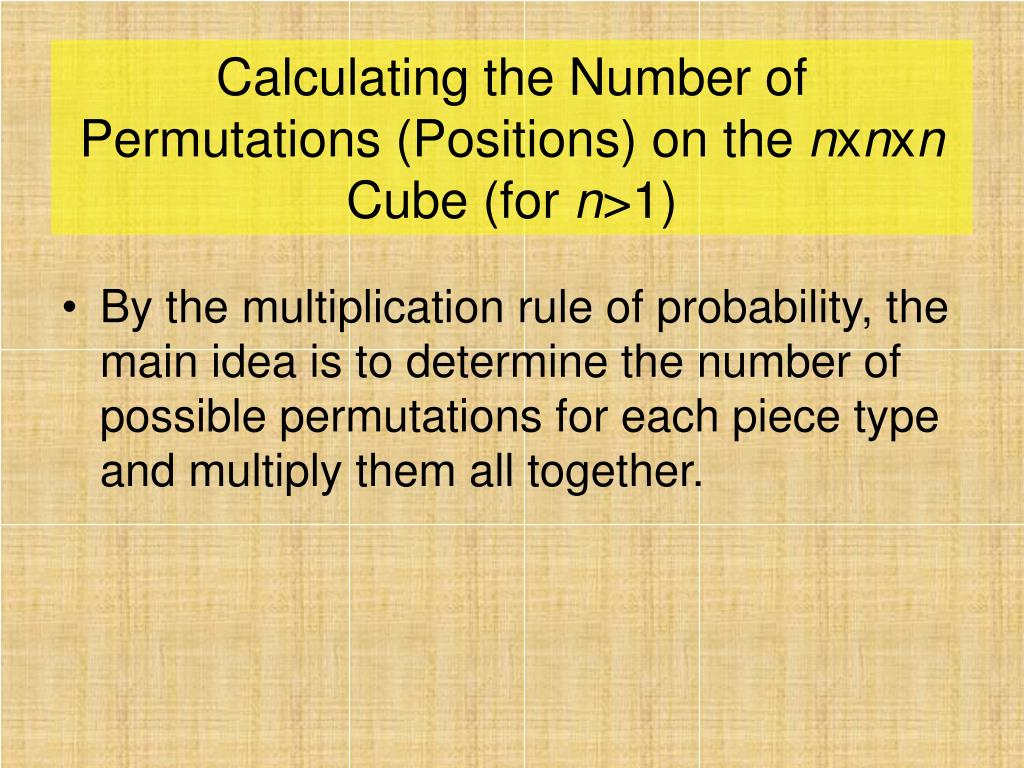 Calculating the Number of Permutations (Positions) on the