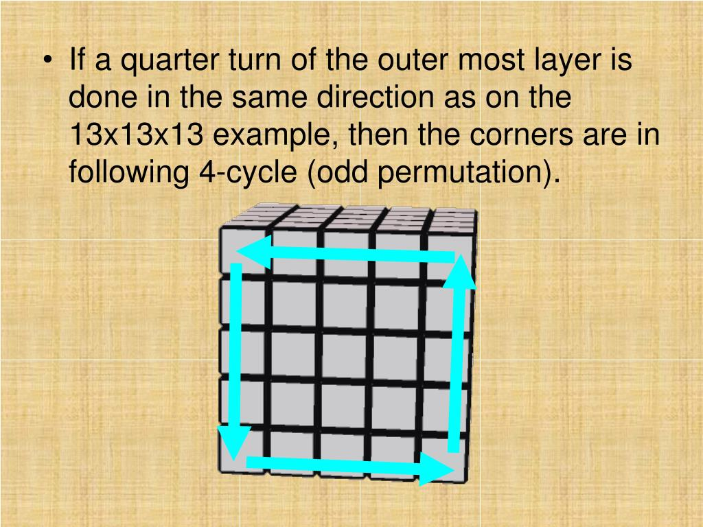If a quarter turn of the outer most layer is done in the same direction as on the 13x13x13 example, then the corners are in following 4-cycle (odd permutation).