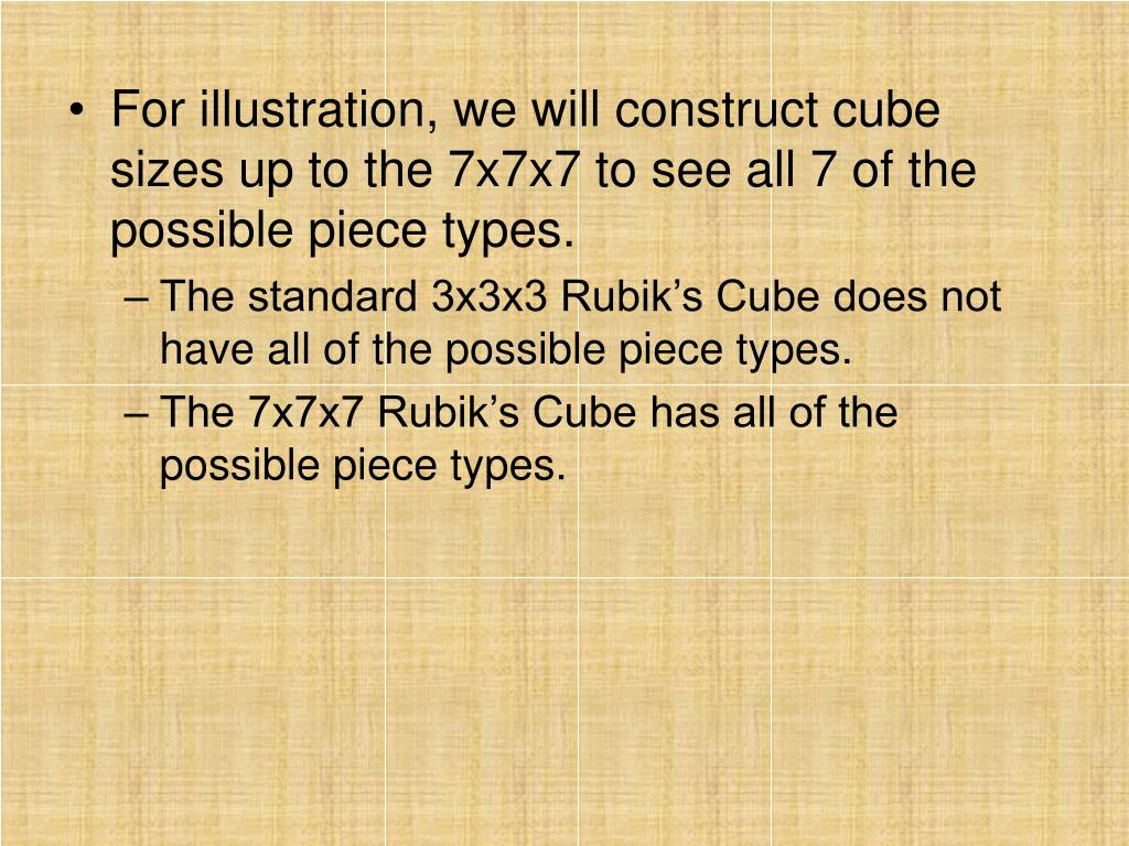 For illustration, we will construct cube sizes up to the 7x7x7 to see all 7 of the possible piece types.