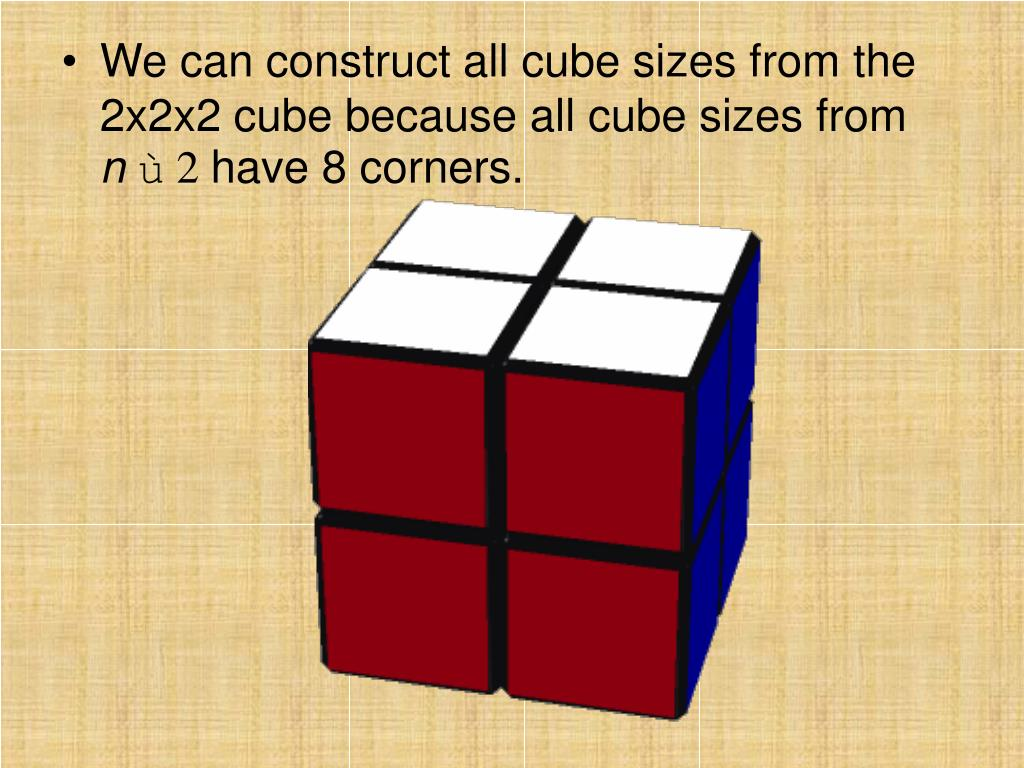 We can construct all cube sizes from the 2x2x2 cube because all cube sizes from