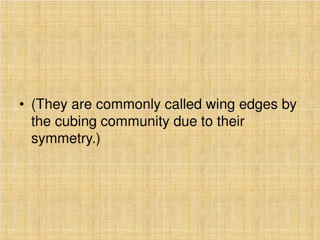 (They are commonly called wing edges by the cubing community due to their symmetry.)