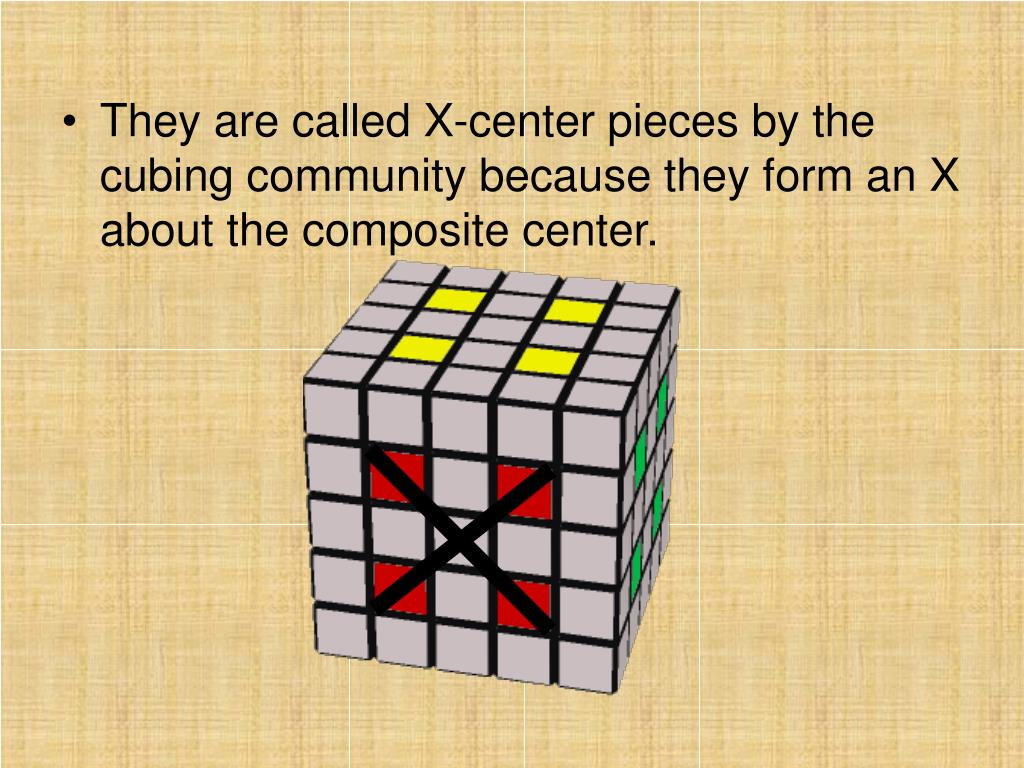 They are called X-center pieces by the cubing community because they form an X about the composite center.