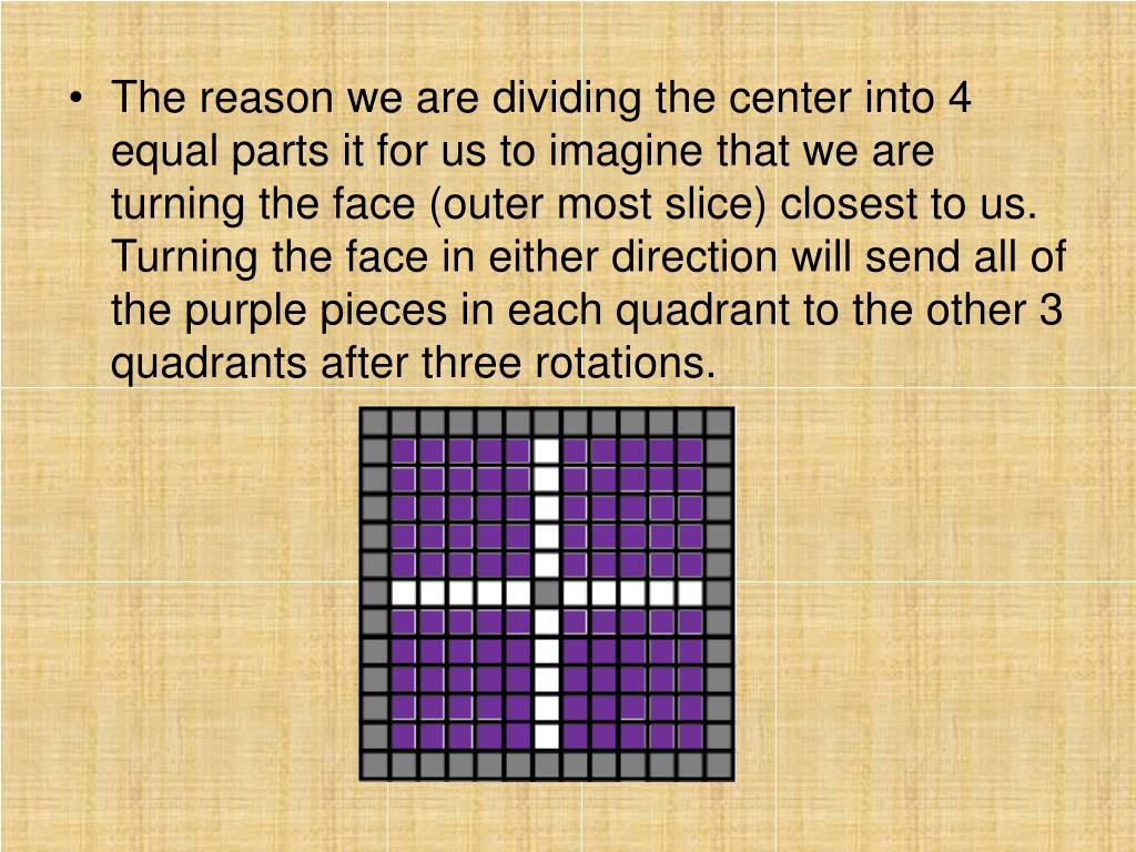 The reason we are dividing the center into 4 equal parts it for us to imagine that we are turning the face (outer most slice) closest to us.  Turning the face in either direction will send all of the purple pieces in each quadrant to the other 3 quadrants after three rotations.