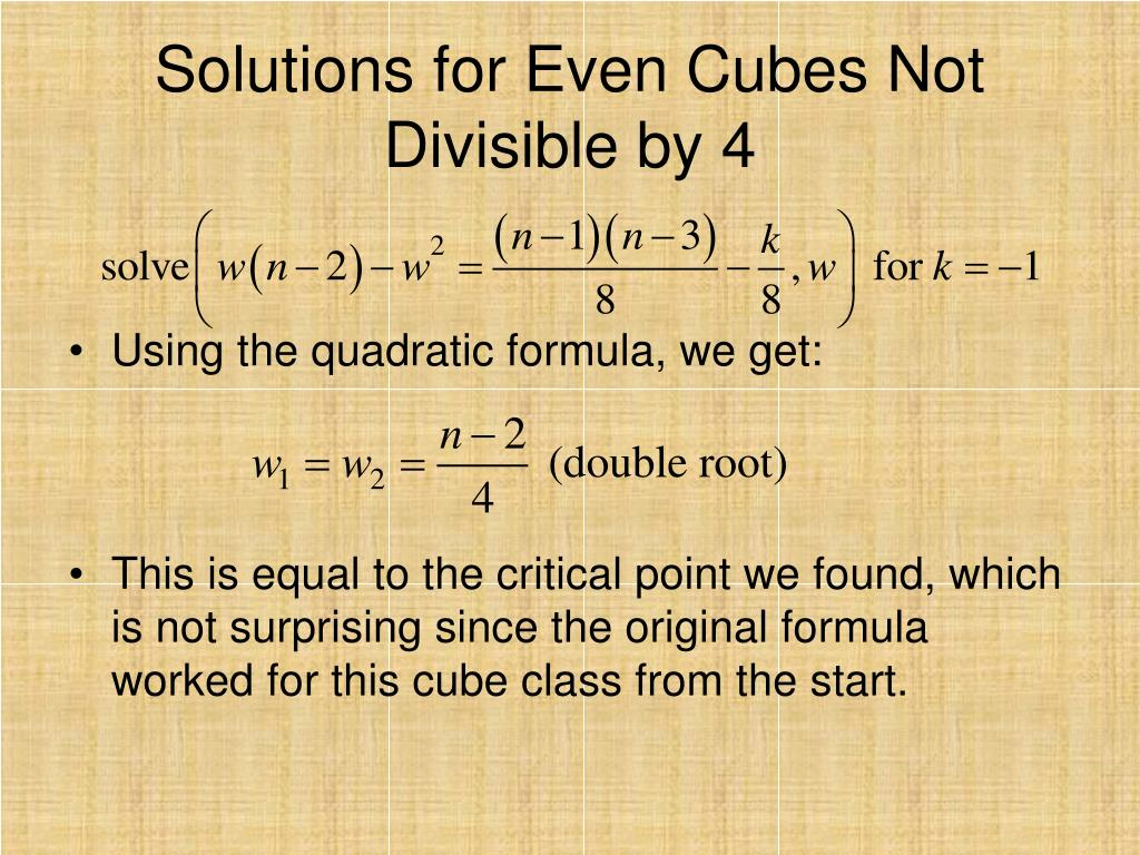 Solutions for Even Cubes Not Divisible by 4