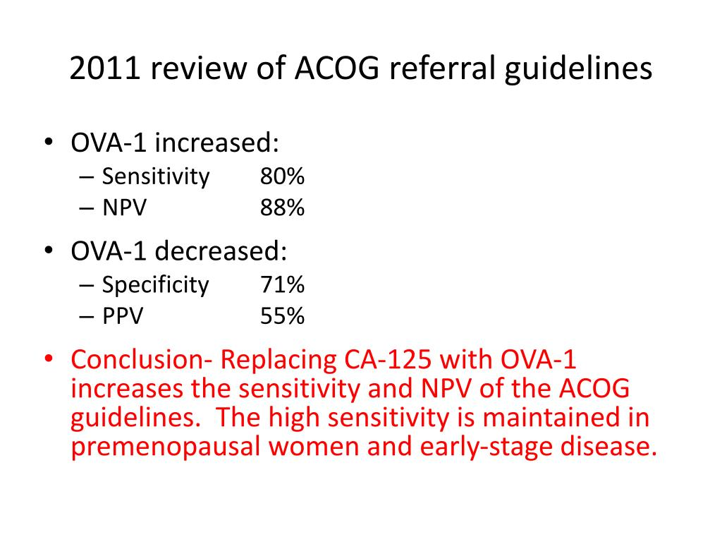 2011 review of ACOG referral guidelines