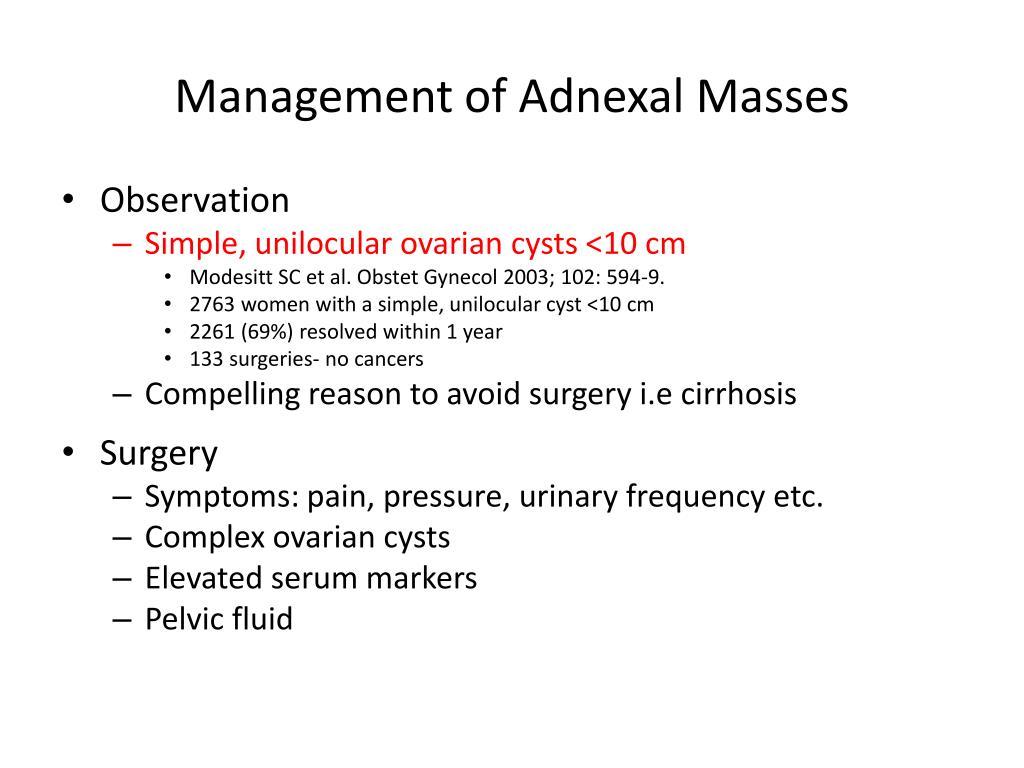 Management of Adnexal Masses