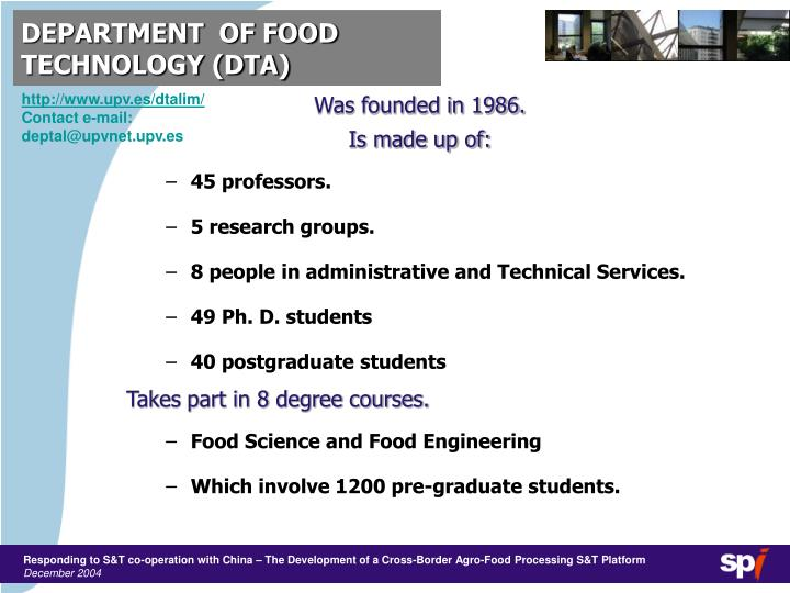 Department of food technology dta