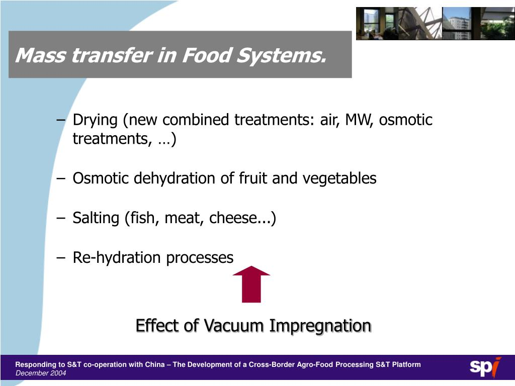 Mass transfer in Food Systems.