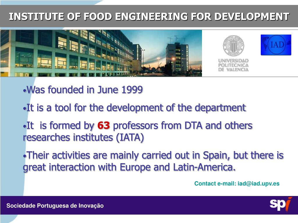 INSTITUTE OF FOOD ENGINEERING FOR DEVELOPMENT