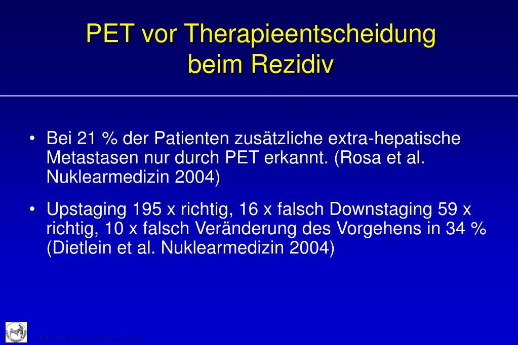 PET vor Therapieentscheidung