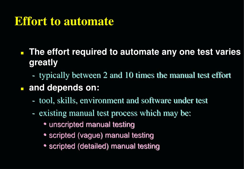 Effort to automate