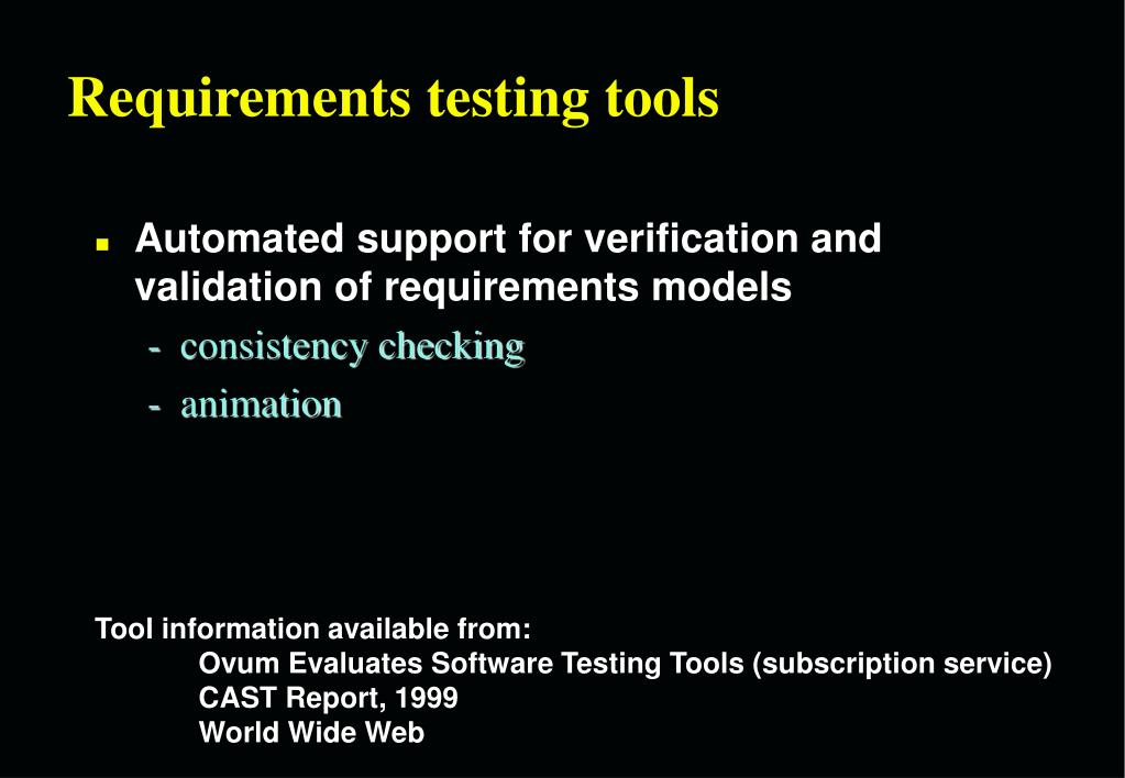 Requirements testing tools