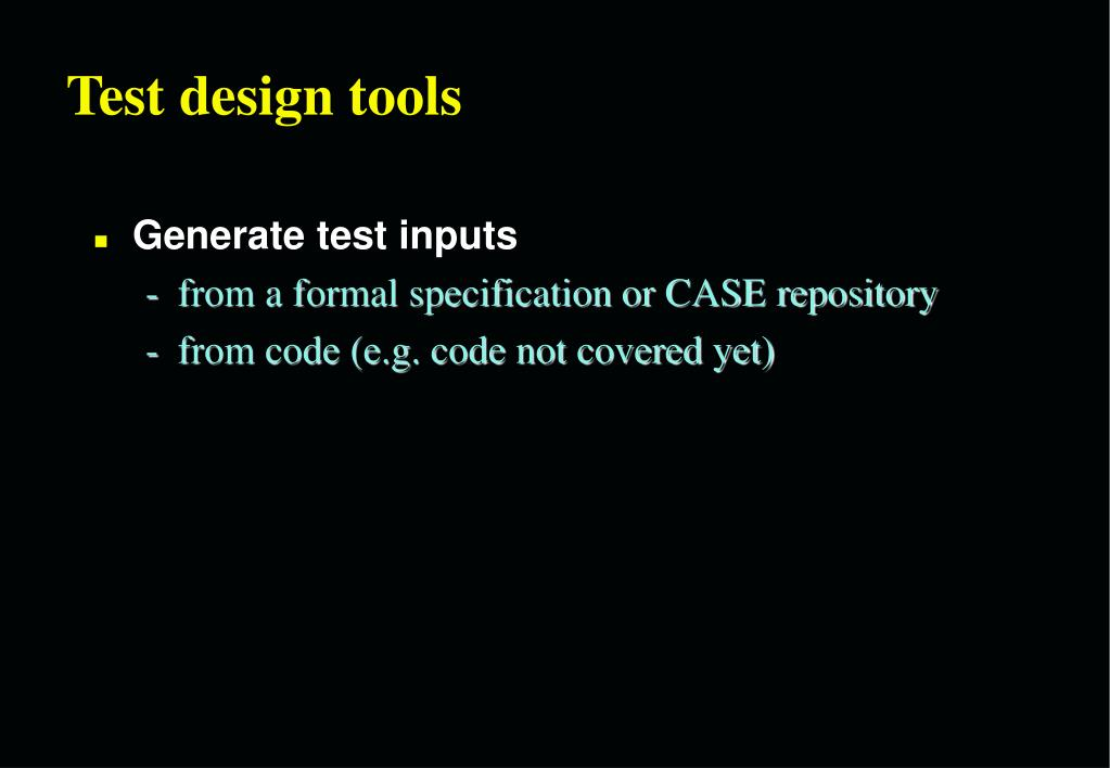 Test design tools