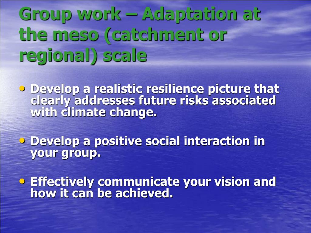 Group work – Adaptation at the meso (catchment or regional) scale