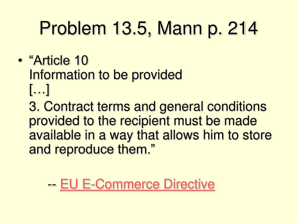 Problem 13.5, Mann p. 214