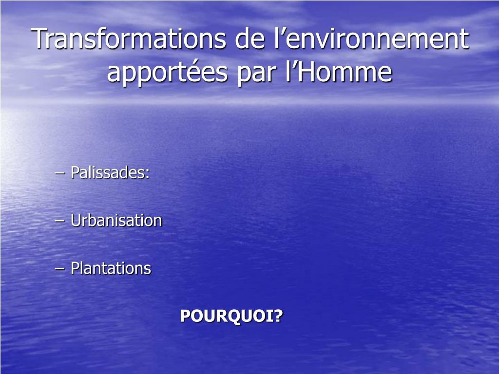 Transformations de l'environnement apportées par l'Homme