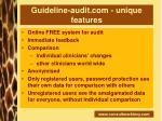 guideline audit com unique features