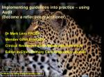 implementing guidelines into practice using audit become a reflective practitioner