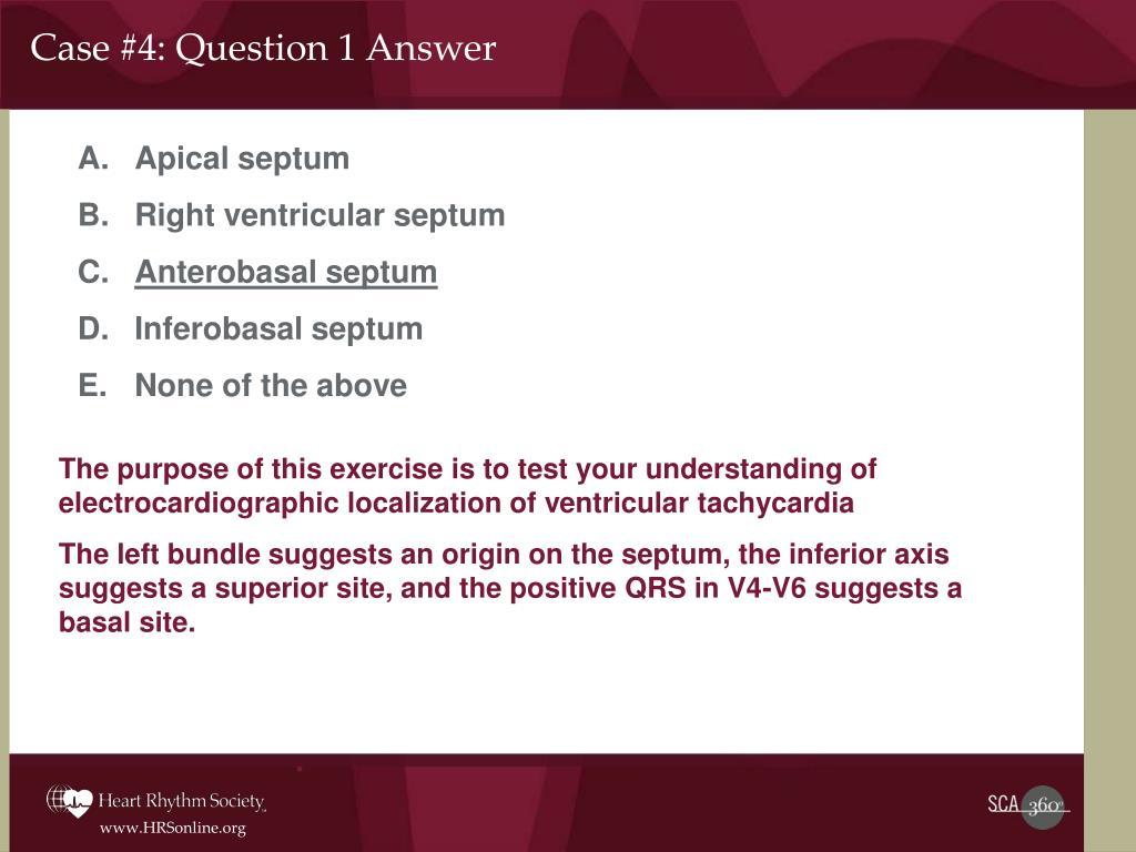 Case #4: Question 1 Answer