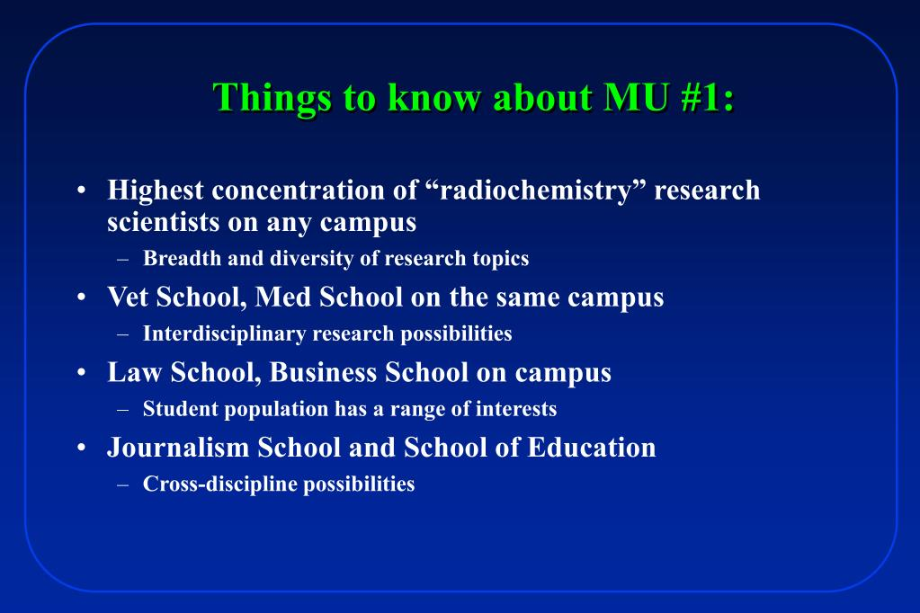 "Highest concentration of ""radiochemistry"" research scientists on any campus"