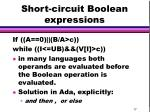 short circuit boolean expressions