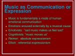 music as communication or expression