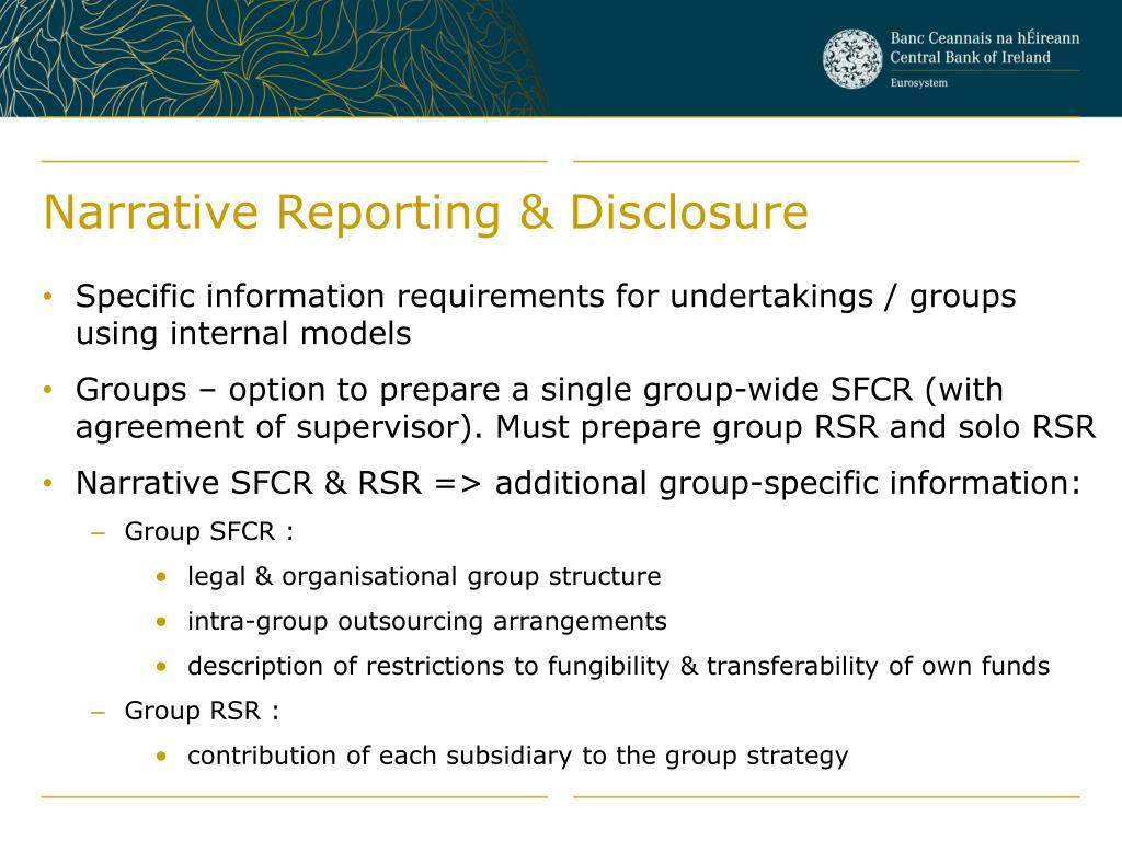 Narrative Reporting & Disclosure