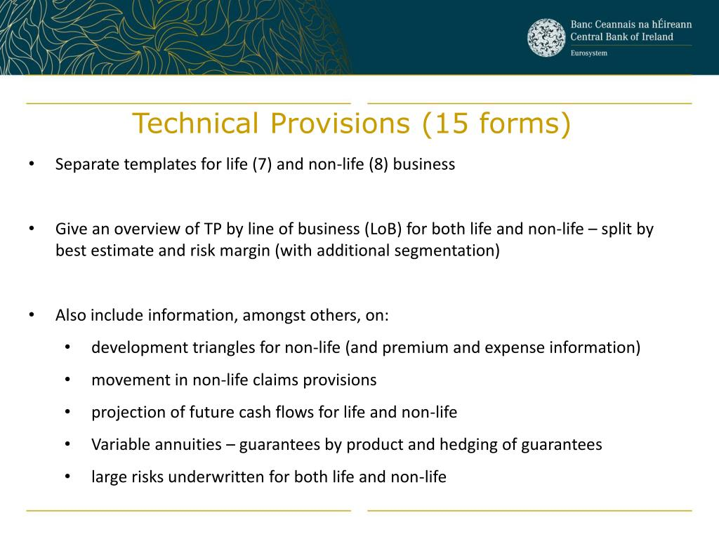 Technical Provisions (15 forms)