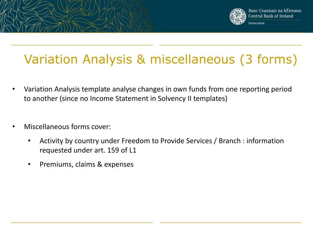 Variation Analysis & miscellaneous (3 forms)