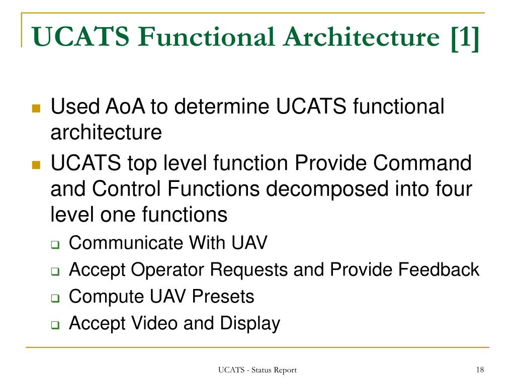 UCATS Functional Architecture [1]