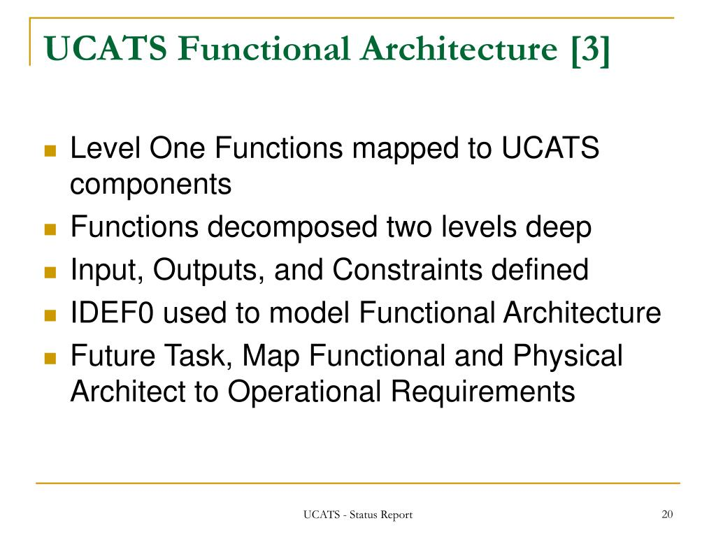 UCATS Functional Architecture [3]