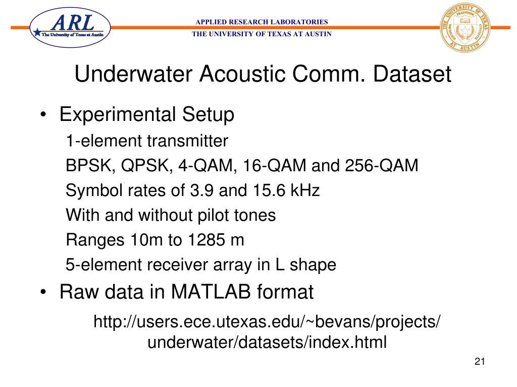 Underwater Acoustic Comm. Dataset