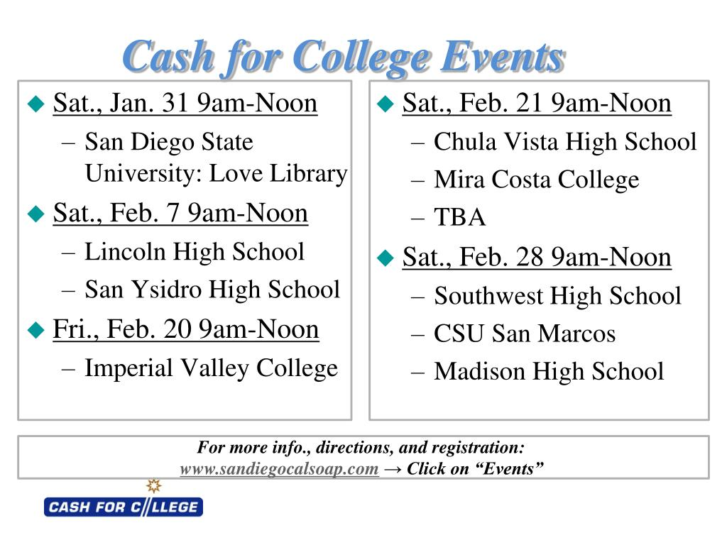 Cash for College Events