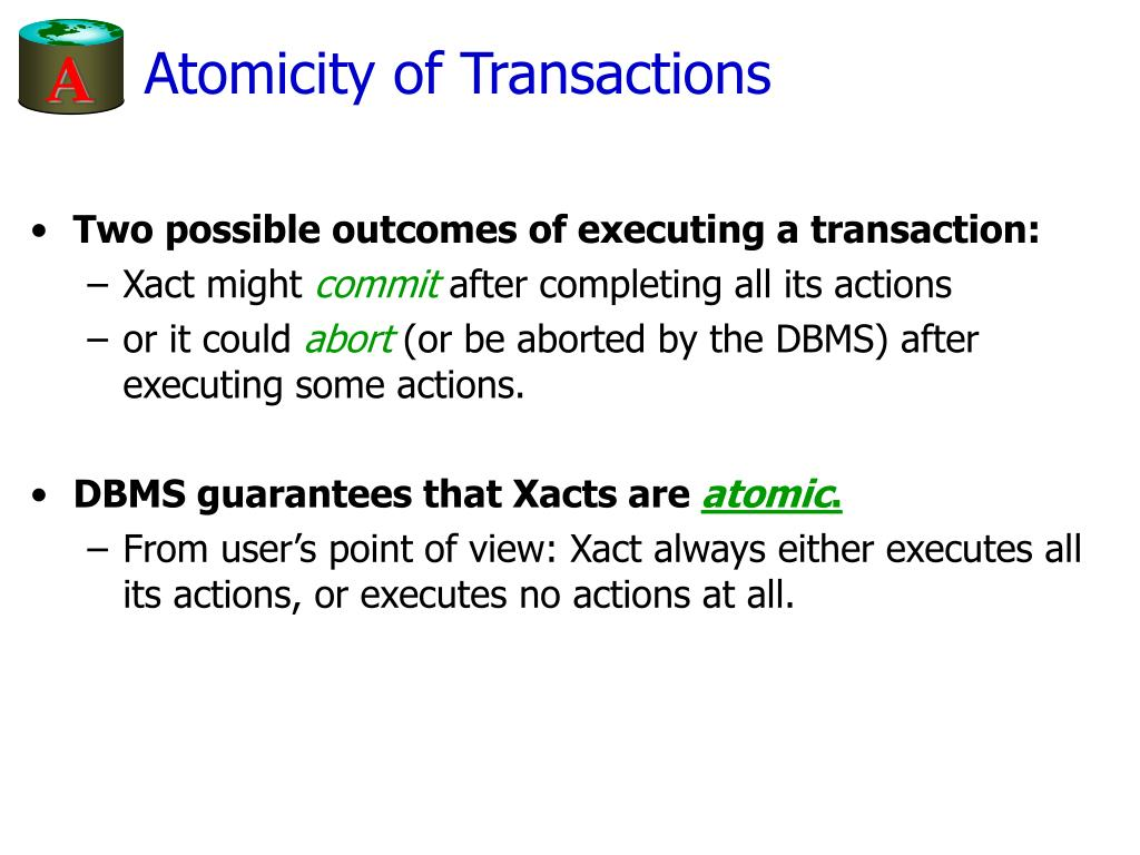 Atomicity of Transactions