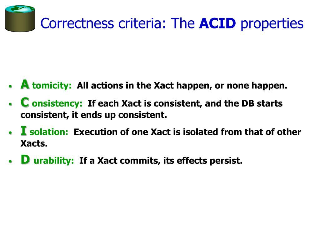 Correctness criteria: The
