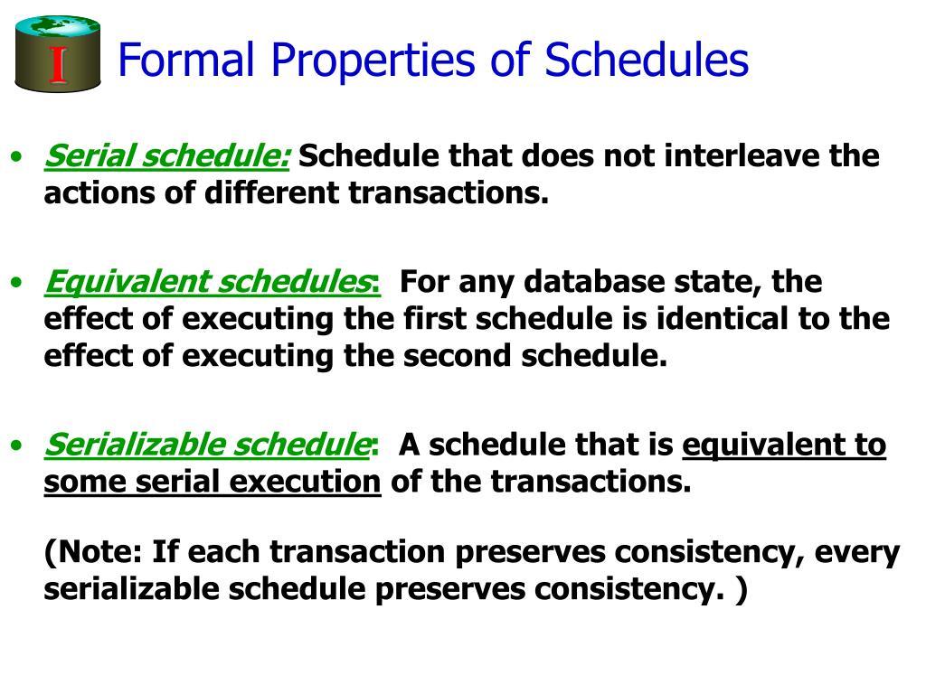 Formal Properties of Schedules