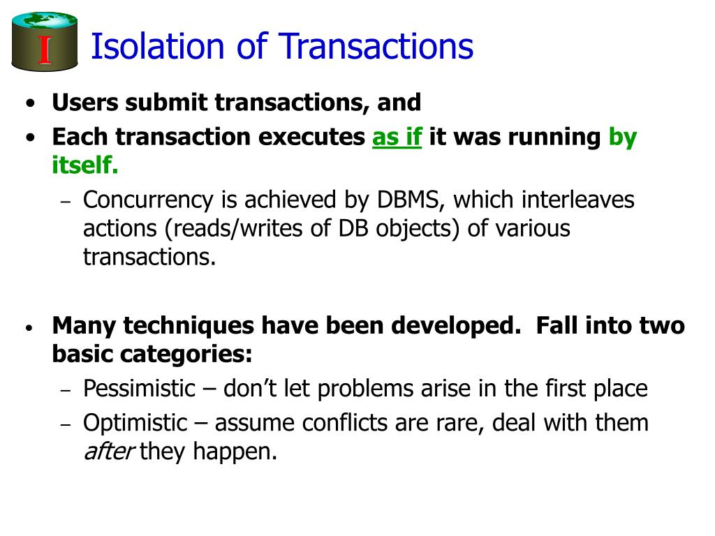 Isolation of Transactions