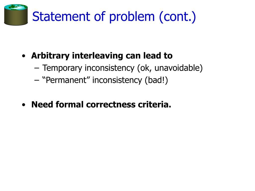 Statement of problem (cont.)