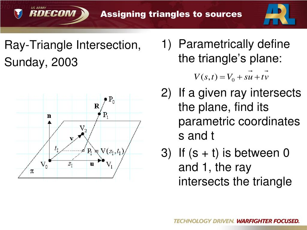 Assigning triangles to sources