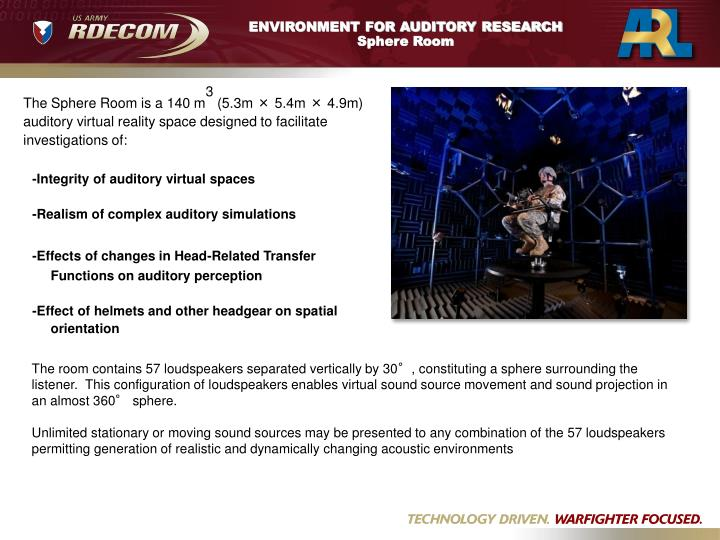 ENVIRONMENT FOR AUDITORY RESEARCH