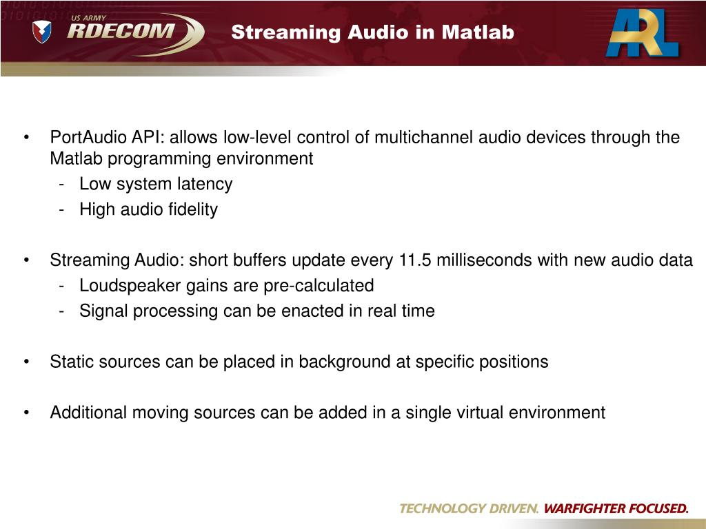 Streaming Audio in Matlab