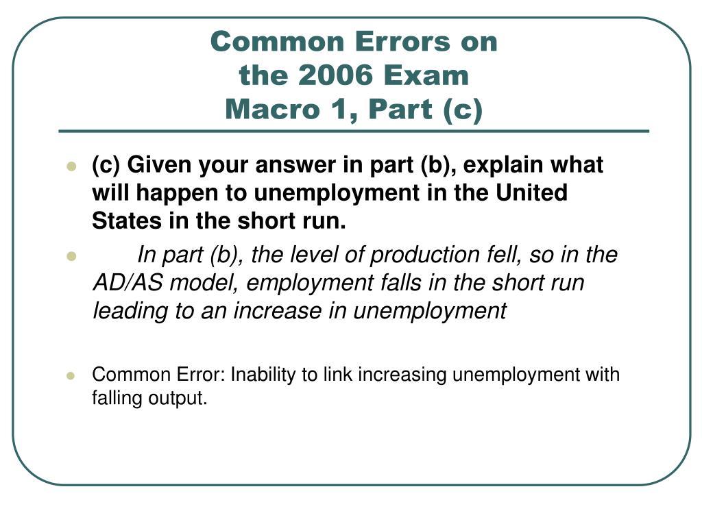 Common Errors on