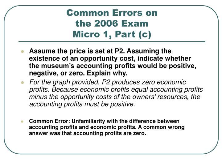 Common errors on the 2006 exam micro 1 part c