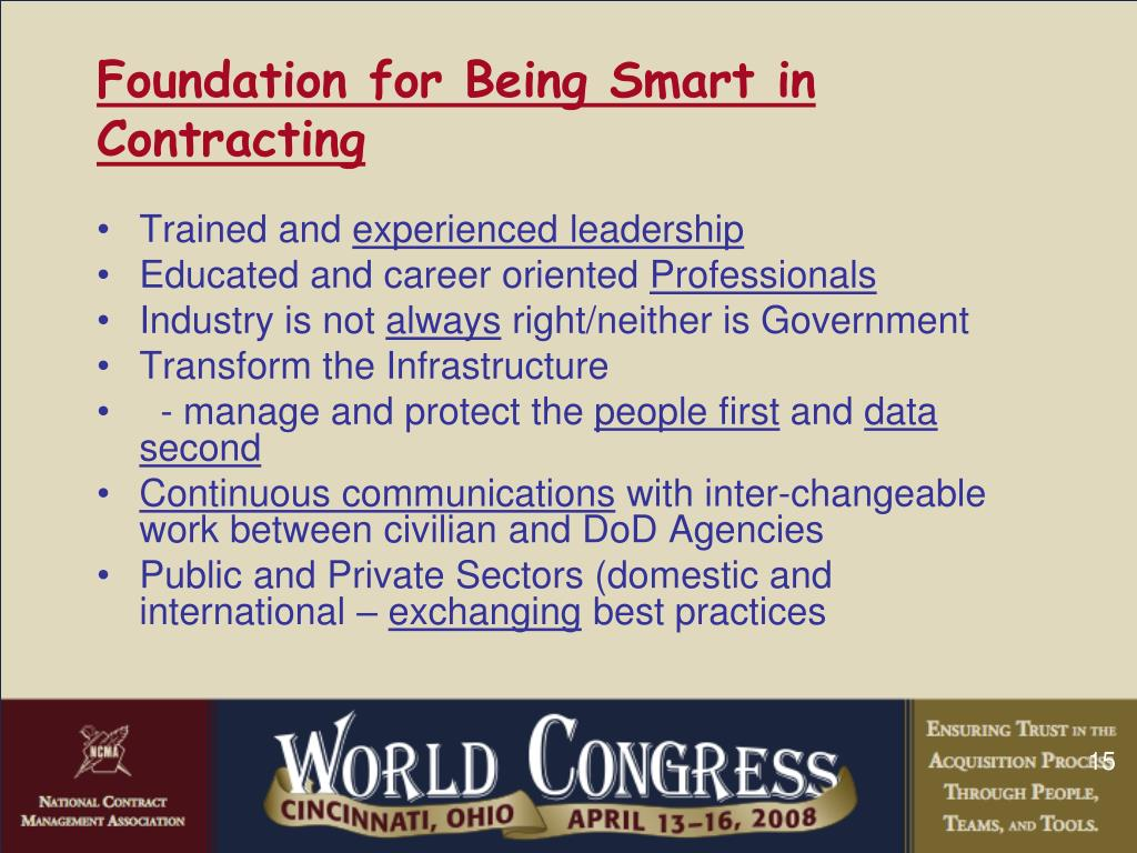 Foundation for Being Smart in Contracting